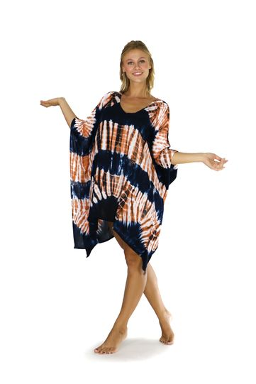 Jungle Brown Tie Dye Fringeless Cover-Up Kaftan