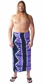Jungle Purple PLUS SIZE Tie Dye Mens Sarong - Fringeless Sarong