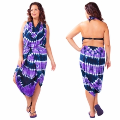 """Jungle Purple"" PLUS SIZE Tie Dye Sarong - Fringeless Sarong"