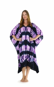 Jungle Purple Tie Dye Fringeless Cover-Up Long Kaftan Poncho Kaftan