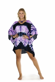 Jungle Purple Tie Dye Fringeless Kaftan