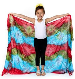 Kids Embroidered Tie Dye Sarong in Red/Green