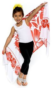 "Kids Floral Half Sarong """"Passionate Scarlet"""" Red and White - Fringeless Sarong"
