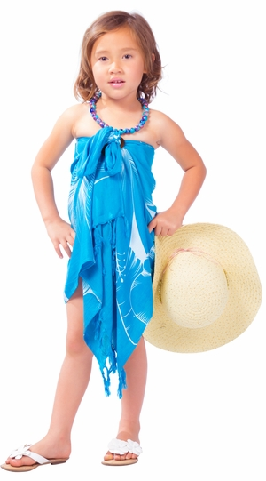 "Kids Floral Half Sarong """"Sea Gypsy"""" Turquoise and White"
