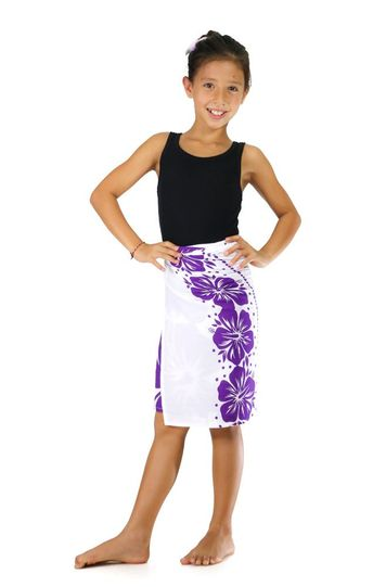 """Kids Floral Half Sarong """"Sweet Mulberries"""" Purple and White - Fringeless Saron"""