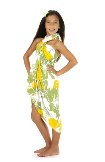 "Kids Floral Sarong ""Canary Island"" Yellow and Green"