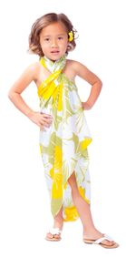 "Kids Floral Sarong ""Canary Island"" Yellow and Green Fringeless"