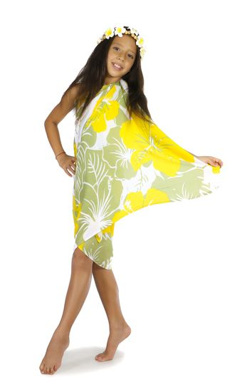 """Kids Floral Sarong """"Canary Island"""" Yellow and Green Fringeless"""