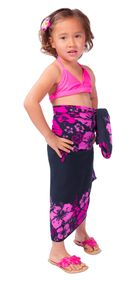 "Kids Floral Sarong ""Cherry Blossom"" Pink Fuchsia and Black - Fringeless Sarong"