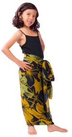 "Kids Floral Sarong ""Divine Earth"" Brown and Green - Fringeless Sarong"