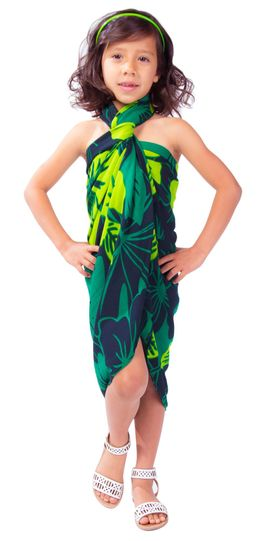"Kids Floral Sarong ""Lavish Jungle"" Green and Black - Fringeless Sarong"