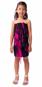 Kids Half Sarong Hibiscus in Pink / Black