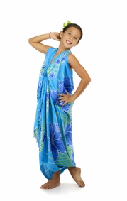 Kids Hawaiian Floral Sarong in Blue/Turquoise