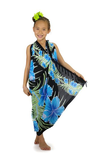 Kids Hawaiian Floral Sarong in Turquoise/Black - Special Order - Call