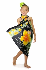 Kids Hawaiian Floral Sarong in Yellow/Black
