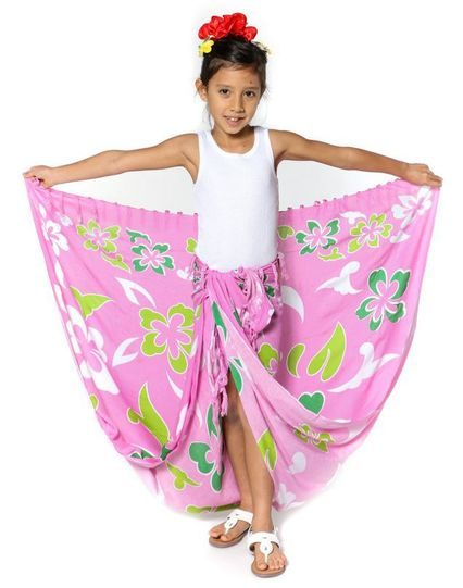 "Kids Hawaiian Sarong ""Pink w/ Greens"""