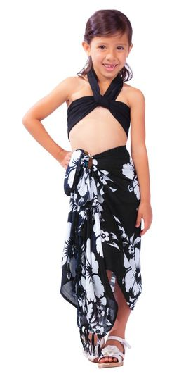 "Kids Hibiscus Sarong ""Black / White"""