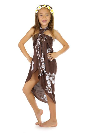 Kids Hibiscus Sarong in Brown/White