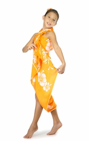 "Kids Hibiscus Sarong ""Orange / White"""