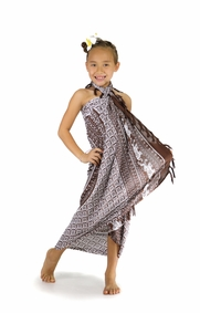 Kids Mandala Sarong with Elephants in Brown