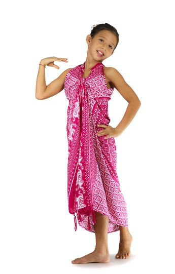 Kids Mandala Sarong with Elephants in Pink