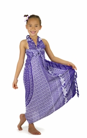 Kids Mandala Sarong with Elephants in Purple