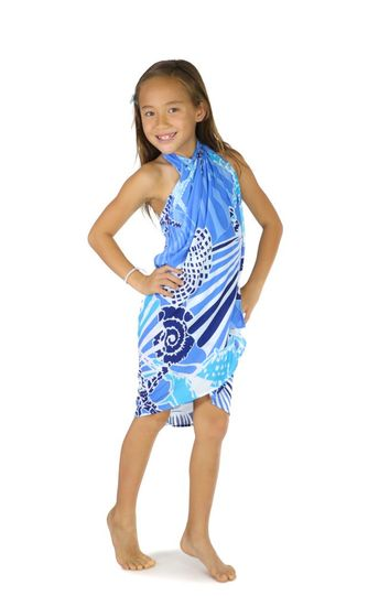 Kids Seashell Sarong in Blue - Fringeless Sarong