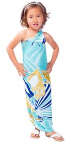 Kids Seashell Sarong in Teal and Brown - Fringeless Sarong