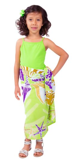 "Kids Seashell Sarong ""Striking Susan"" Key Lime and Purple - Fringeless Sarong"