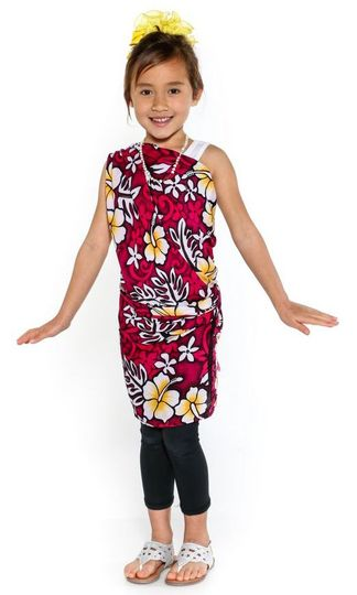 Kids Vivid Hibiscus Flower Half Sarong in Hot Pink