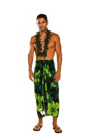 "Lava Lava Mens Fringeless (TM) Floral Sarong ""Lavish Jungle"" Green and Black"