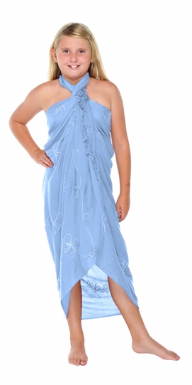 Light Blue Embroidered Girls Sarong