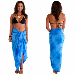 """Light Blue"" Smoked Sarong PLUS SIZE XL - 3X + - Fringeless Sarong"