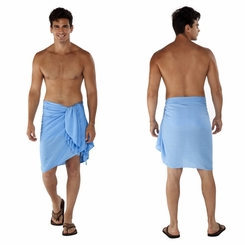 Light Blue Solid Mens Sarong - Final Sale - No Returns