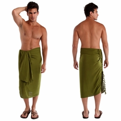 Light Green Olive Mens Sarong - Final Sale - No Returns