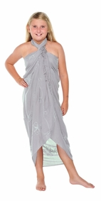 Light Grey Embroidered Girls Sarong