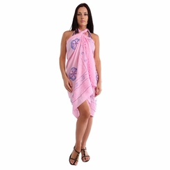 Light Pink Sarong W/ Triple Embroidery - Final Sale - No Returns