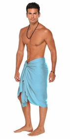 Light Turquoise Solid Mens Sarong - Final Sale - No Returns