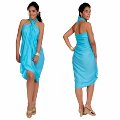 Light Turquoise Solid Sarong - Final Sale - No Returns