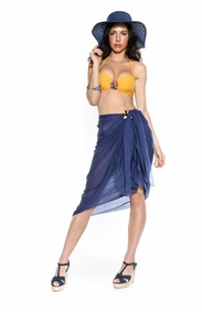 Light Weight Cotton Sarong in Navy Blue - Final Sale - No Returns