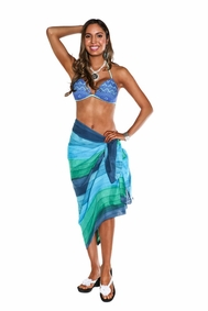 Light Weight Cotton Sarong in Turquoise and Blue Ombre