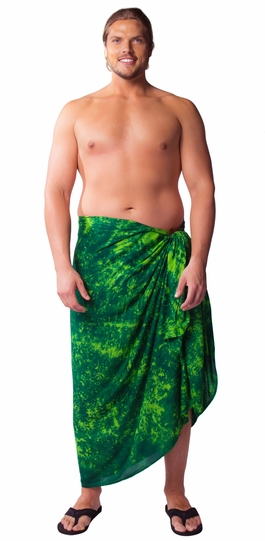 """Lime / Dark Green"" Smoked Mens Sarong PLUS SIZE XL - 3X + - Fringeless Sarong"