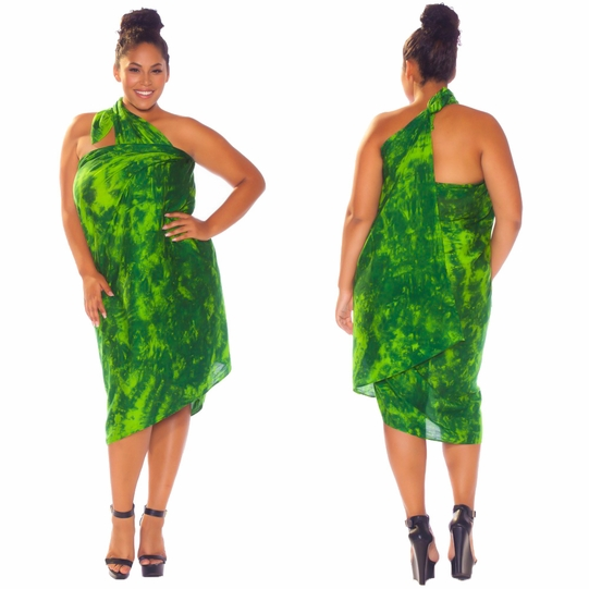 """Lime / Dark Green"" Smoked Sarong PLUS SIZE XL - 3X + - Fringeless Sarong"