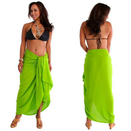 """Lime Green"" Solid Sarong PLUS SIZE - Fringeless Sarong"