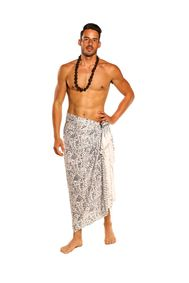 Mens Abs Tract Sarong in White