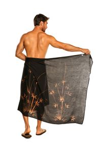 Mens Bamboo Fringeless Sarong in Black