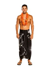 Mens Beach Wrap Big Hibiscus Floral Cover-Up Sarong in Black