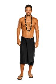 Mens Beach Wrap Cotton Sarong in Black with FREE Bag - Fringeless Sarong