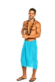 Mens Beach Wrap Cotton Sarong in Turquoise with a Bag - Fringeless Sarong