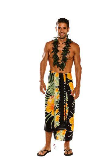 Mens Beach Wrap Hawaiian Floral Cover-Up Sarong in Yellow / Black